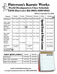 PKW schedule Sept 2016